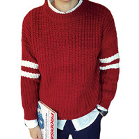 Stripe Panel Sleeve Knitted Pullover Sweater