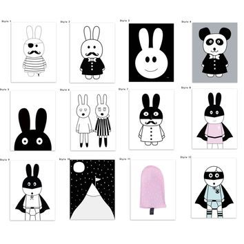New Nordic Decoration HD Wall Art Canvas Kawaii Animal Painting (No Frame) Lovely Rabbits Posters And Prints Wall Pictures For L