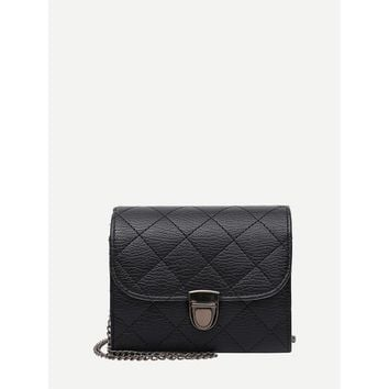 Black Push Lock Quilted Pu Chain Crossbody Bag