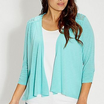 plus size cardigan with lace back in sea salt green | maurices