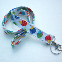 Lanyard  ID Badge Holder - Anchors - Lobster clasp and key ring - multicolored hedgehogs