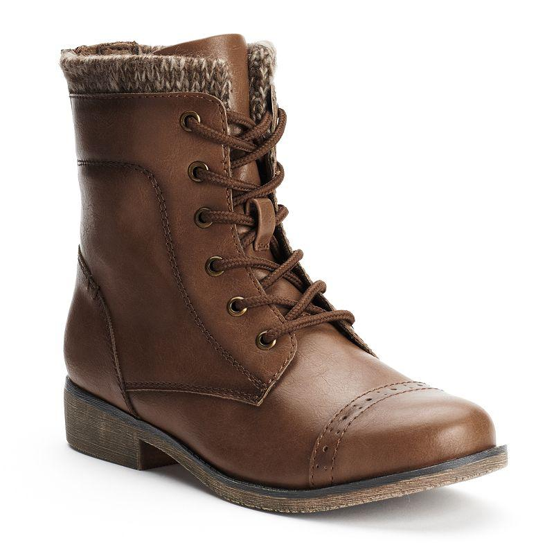 mudd s lace up knit cuff boots brown