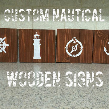 Adorable Nautical Themed Wood Signs -- Great Decor for Little Boy's Room or Beach House