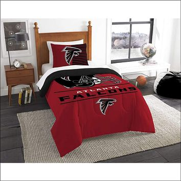 """Falcons OFFICIAL National Football League, Bedding, """"""""Draft"""""""" Printed Twin Comforter (64""""""""x 86"""""""") & 1 Sham (24""""""""x 30"""""""") Set  by The Northwest Company"""