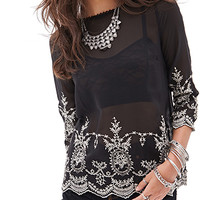 FOREVER 21 Sheer Embroidered Floral Top Black/Cream Small