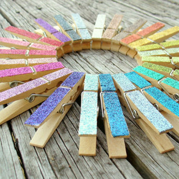 Pick 6 Glitter Clothespin Magnets by PeaceLoveAndRoses on Etsy