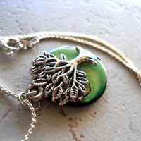 Tree of Life Necklace Green Mother of Pearl Earth