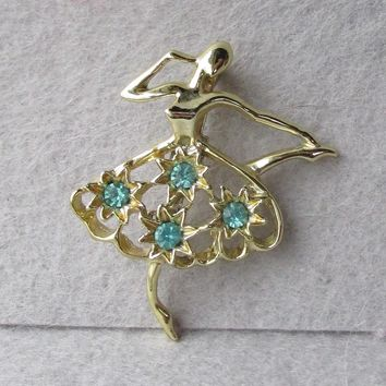 Signed Gerry's Aqua Rhinestone BALLET Dancer Vintage Pin