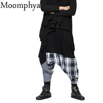 Moomphya hip hop dance Baggy jogger plaid patchwork pants elastic waist fashion multilayered draped street wear pants Dancer