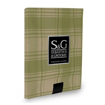 "Sebastien & Groome TCY6033560 Round American Plaid Tablecloth, 60"", Sage/Beige"
