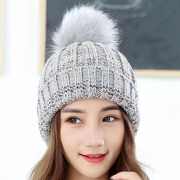 DCCKJG2 Winter fur pompom hat for women cashmere wool cotton hat Faux Raccoon fur pompom Beanies Gorros Fox fur bobble caps