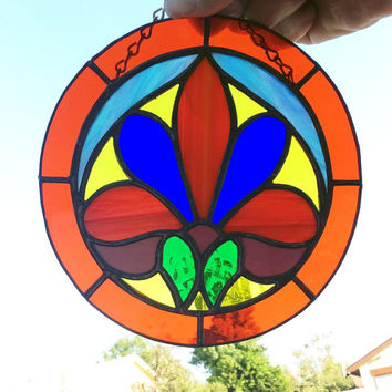 stained glass suncatcher, Fleur-de-lis decor, colorful home decor,  stained glass suncatcher, suncatcher, window decor, window hanging