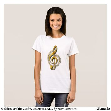 Golden Treble Clef With Notes And Shadows T-Shirt