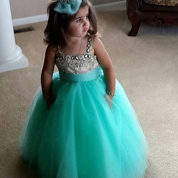 New Vestidos de primera comunion 2016 Tiffany Blue Little Girls Ball Gown Dresses Princess Sleeveless Pleat Flower Girl Dresses