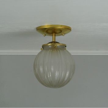 Vintage Frosted Globe Flush Mount Light