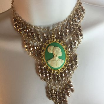 Green and gold Victorian cameo necklace