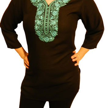 Kulsoom Women's Top Tunic with Embroidery