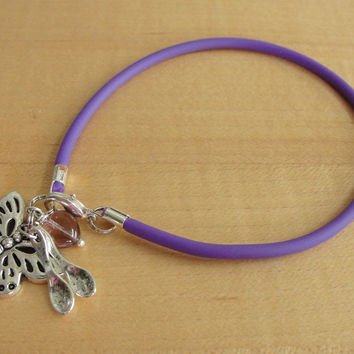 Lupus Purple Awareness Bracelet - Rubber - with Spoons
