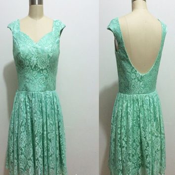 Mint Backless Prom Dress,Short Lace Bridesmaid Dress,Mint Bridesmaid Dress/Homecoming Dress 2015