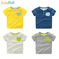 4 Colors Summer New Boys T-Shirts Solid Fashion Toddlers Tee Tops Cotton O-Neck Short Sleeve Clothing For Children 18M-5T CMB295