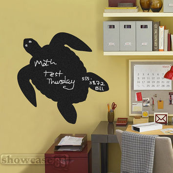 Turtle Chalkboard  - Vinyl Wall Art - FREE Shipping - Fun Organizing Blackboard Wall Decal