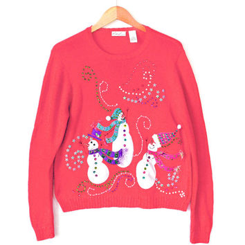 Hot Pink Sequin Snowmen Ugly Christmas Sweater