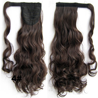 Ponytail Hair Extension Heat Proof Synthetic Wrap Around Invisable Long wavy Velcro Ponytail Hair Extension Clip In on Hair Pony Tail,Wig Hairpiece,woman wigs,wig hairs,Bath & Beauty,Accessories BIP-888 4#