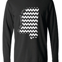 Mississippi Chevron Comfort Color Short LONG SLEEVE T-shirt.  Show Your state pride and state love