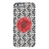 Black White Damask with Red Flower iPhone 6 Cases