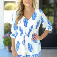 Napa Weekend Romper - Ivory and Navy