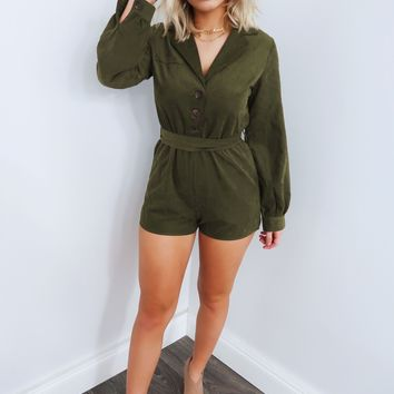 Total Package Romper: Olive