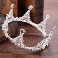 New Crystal Silver Color Hair Jewelry Round Rhinestones Wedding Tiaras and Crowns Bridal Luxury Handmade Queen Tiara for Bride