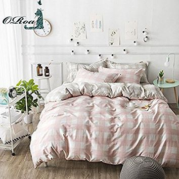 ORoa Pink White Gingham Queen Duvet Cover Set Full Reversible Quilt Cover for Girls Bedding Set for Kids Adults, Style 1