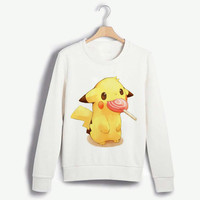 Pokemon Pikachu Lolipop Garfield Monsters INC Hoyas Crewneck Sweatshirt