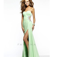 Faviana 2014 Prom Dresses - Mint Ruched Chiffon & Mesh Cutout Prom Dress