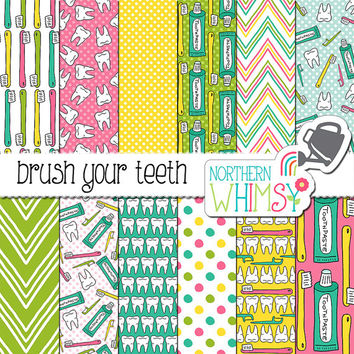 "Dentist Digital Paper - ""Brush Your Teeth"" - dental hygiene seamless patterns with teeth, toothbrushes, and floss - commercial use OK"