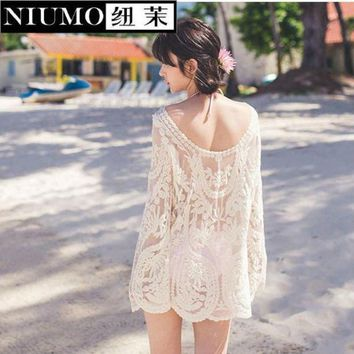 PEAPGC3 NIUMO New knitting Cover up The beach on vacation The bikini blouse Bathing suit jacket Beach plus Prevent bask in Hollow out