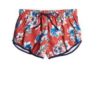 Floral Dolphin Shorts - Red
