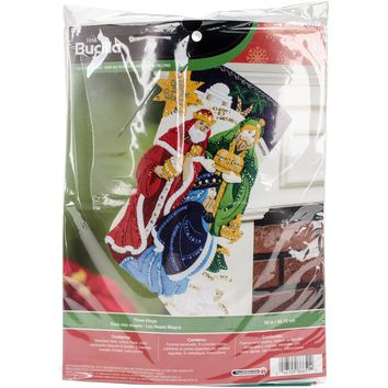 "Three Kings Bucilla Felt Stocking Applique Kit 18"" Long"