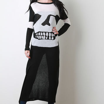 Skull Graphic Knit Maxi Top