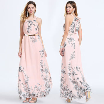 Maxi Boho Floral print sleeveless chiffon Summer Beach Long Evening Party Dresses one pieces
