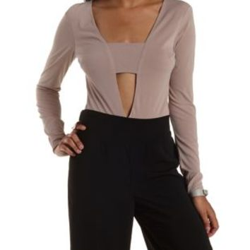 Taupe Plunging Long Sleeve Bodysuit by Charlotte Russe