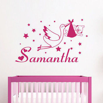 Vinyl Name Wall Decals Stork Stars Baby Decal Girl Nursery Room Decor Mural 3731