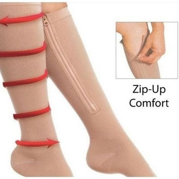 1pair Zip Sox Compression Socks Zipper Leg Support Knee Stockings Open Toe [8270435905]