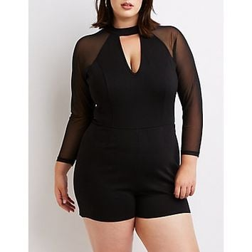 Plus Size Mesh Sleeve Cut-Out Romper | Charlotte Russe