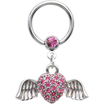 14 Gauge Pink Gem Winged Heart Dangle Captive Ring