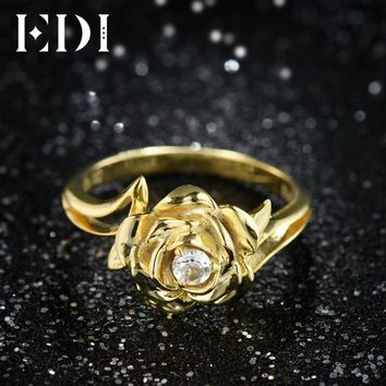 EDI Gorgeous 3MM Natural Diamond Wedding Rings Real 14k 585 White Rose Gold Moissanite Jewelry For Women Beauty And The Beast
