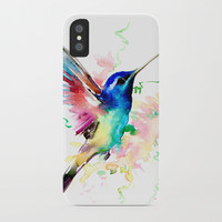 Hummingbird , Blue Turquoise Pink iPhone Case by sureart