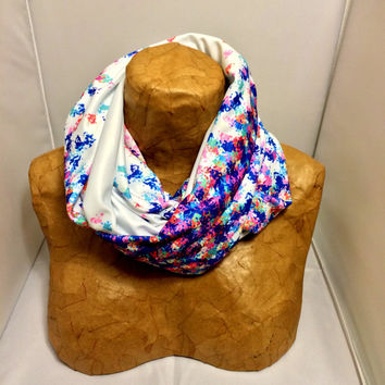 Colorful Knit Scarf - Watercolor Funfetti Infinity Scarf