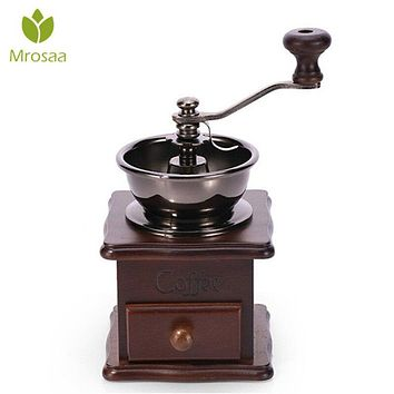Classical Wooden Manual Coffee Grinder Hand Stainless Steel Retro Coffee Spice Mini Burr Mill With High-quality Ceramic Millston